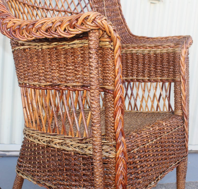 Antique Sea Grass and Wicker Rocker with Custom Cushion For Sale 1