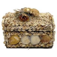 Antique Sea Shell Decorative Coffin Box with Lid