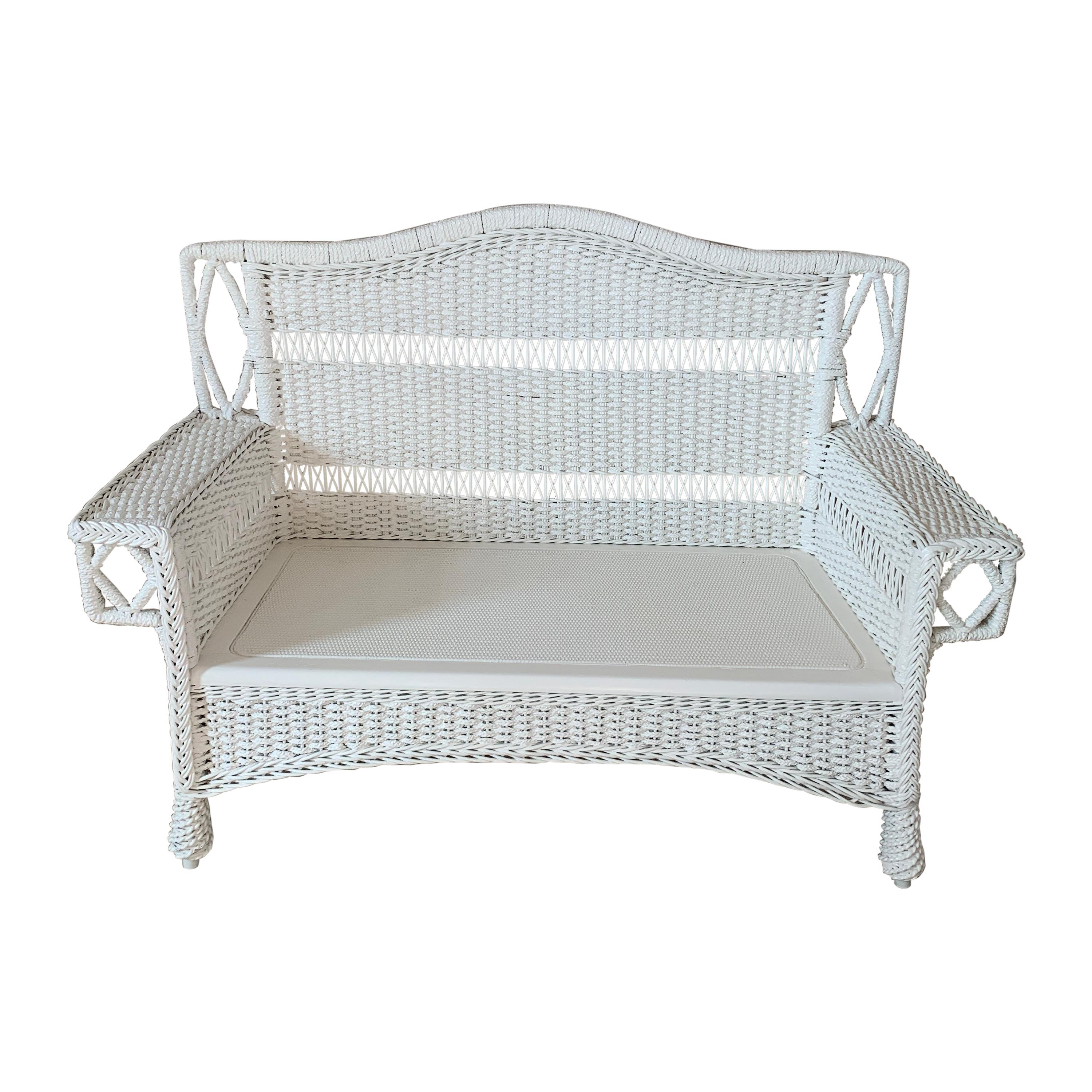 Antique Seagrass Settee