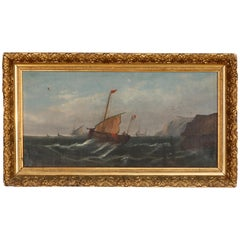 Antique Seascape Oil on Canvas Painting in Giltwood Frame, 19th Century