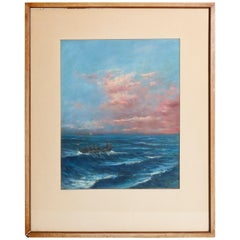 Antique Seascape Pastel Painting on Paper Signed Vatolla, circa 1920