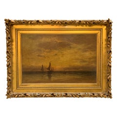 Antique Seascape with Sailboats Oil Painting Signed