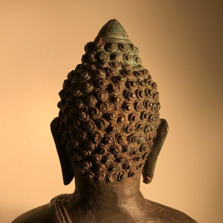 Antique Seated Enlightenment Shakymuni Buddha, Hand Cast Bronze For Sale 6