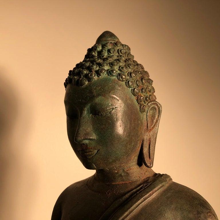 Antique Seated Enlightenment Shakymuni Buddha, Hand Cast Bronze For Sale 10