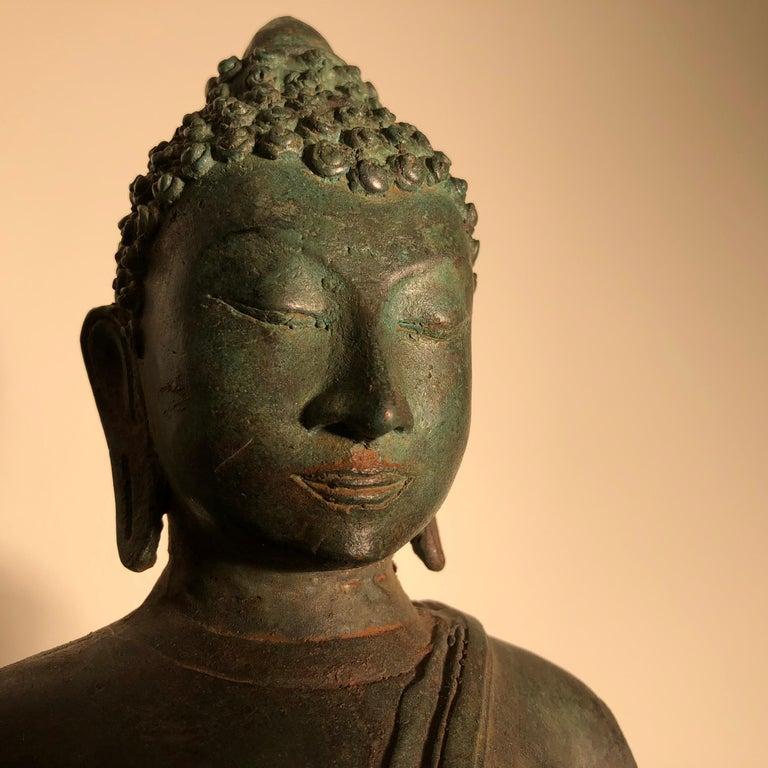 Thai Antique Seated Enlightenment Shakymuni Buddha, Hand Cast Bronze For Sale
