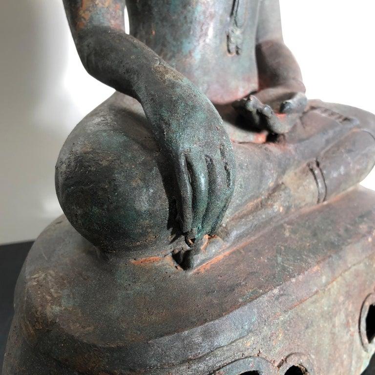 20th Century Antique Seated Enlightenment Shakymuni Buddha, Hand Cast Bronze For Sale