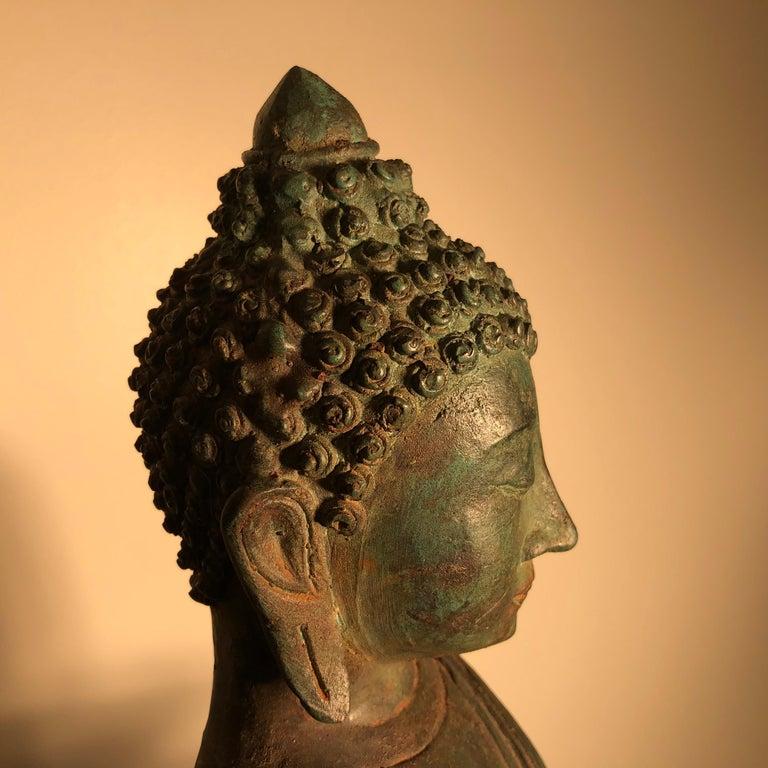 Antique Seated Enlightenment Shakymuni Buddha, Hand Cast Bronze For Sale 3
