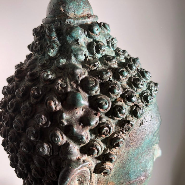 Antique Seated Enlightenment Shakymuni Buddha, Hand Cast Bronze For Sale 4