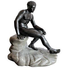 Antique Seated Greek God Hermes Patinated Grand Tour Cast Bronze Sculpture