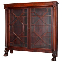 Antique Second American Empire Flame Mahogany Bookcase on Carved Paw Feet