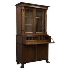 Antique Secretaire Bookcase, Scottish, Mahogany, Cabinet, Victorian, circa 1880