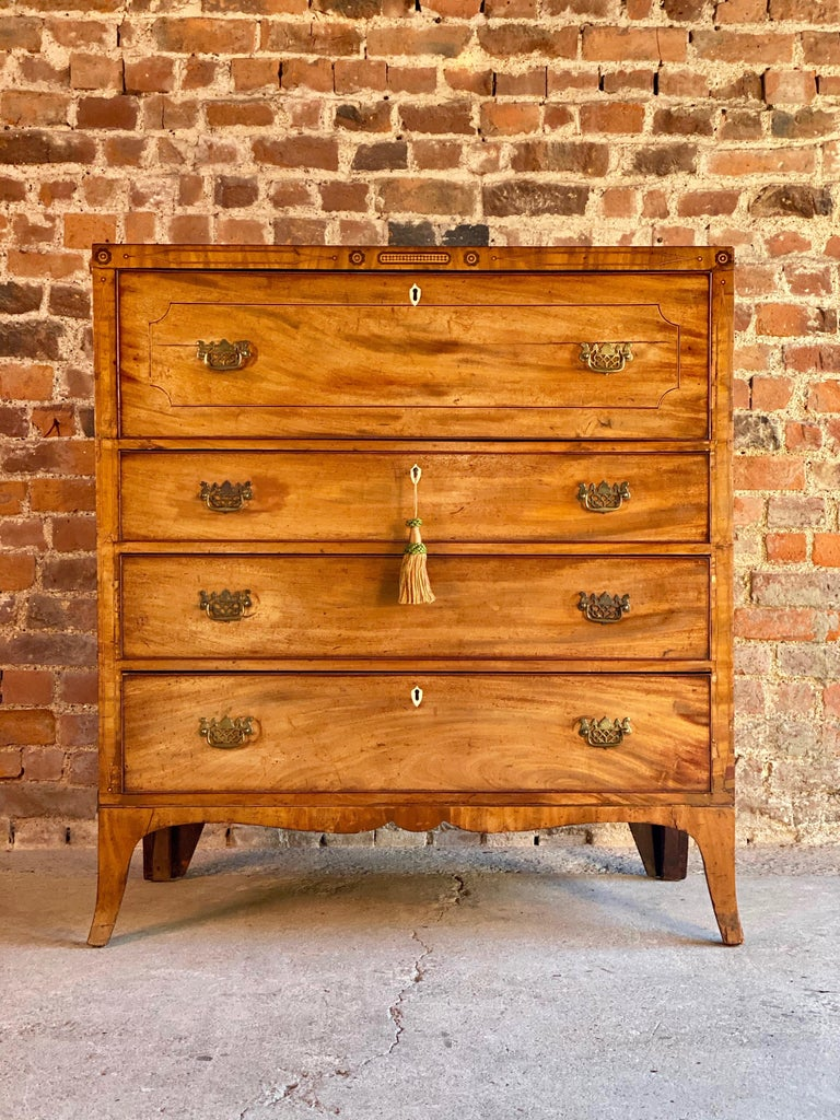 Antique secretaire chest of drawers mahogany Victorian 19th century, circa 1880  A magnificent Victorian mahogany and inlaid secretaire chest circa 1880, the rectangular top over large drawer with a drop flap opening to reveal a compartmentalised