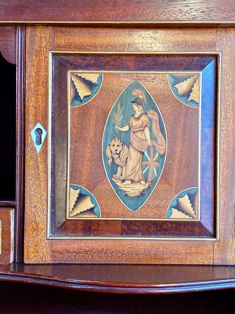 Inlay Antique Secretaire Chest of Drawers Mahogany Victorian 19th Century, circa 1880 For Sale