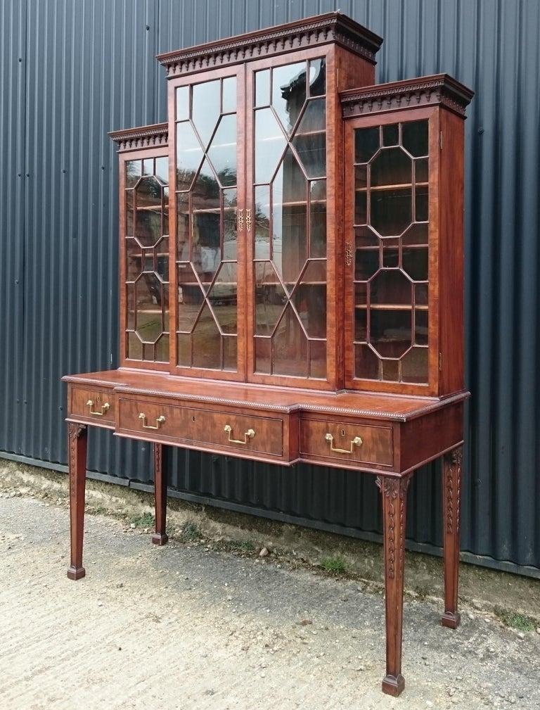 British Antique Secretary Bookcase For Sale