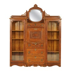Antique Secretary Bookcase, Oak, Side by Side Desk, America 1910, B1603
