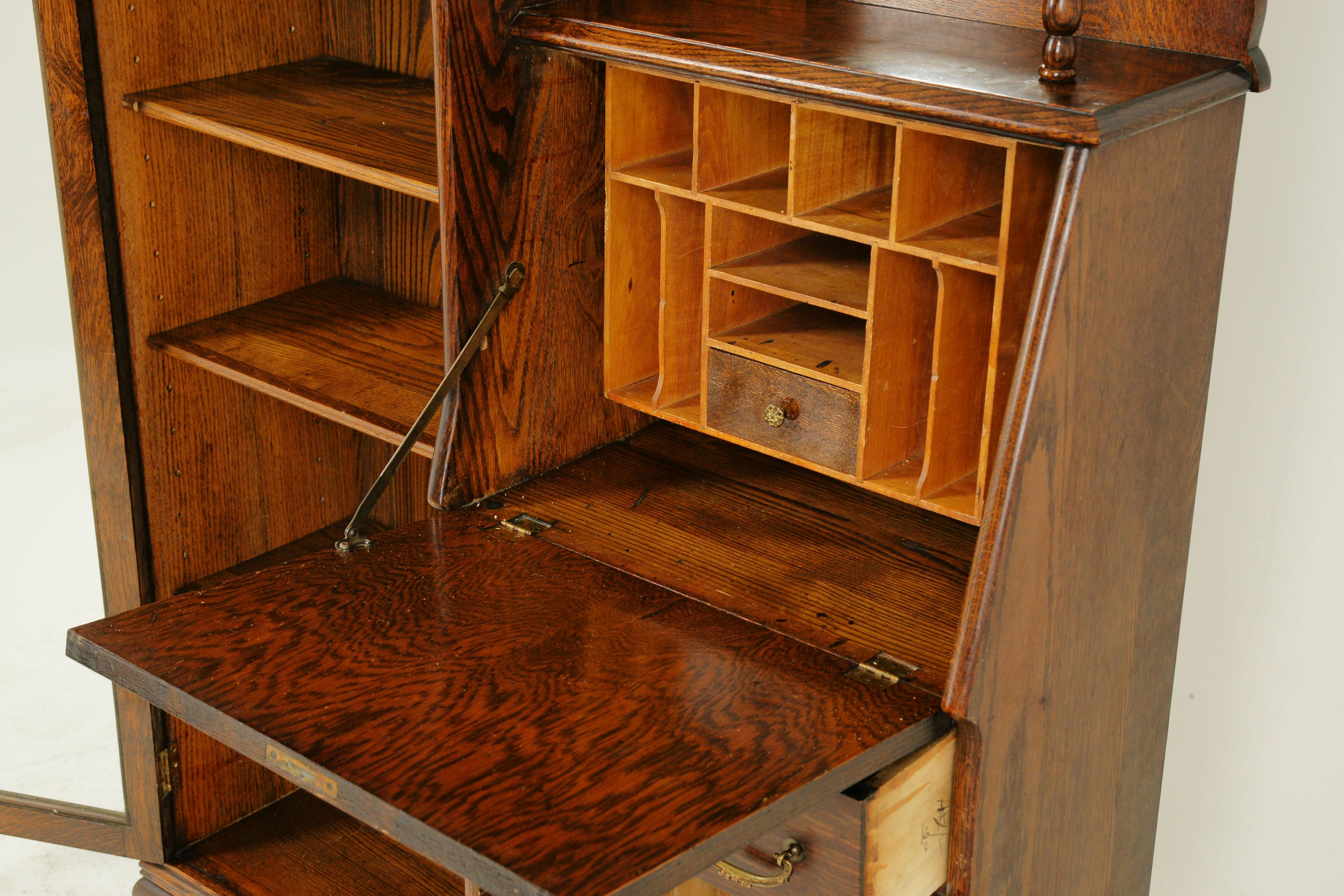 Antique Secretary Desk Antique Bookcase Side By Side Oak