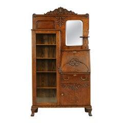Antique Secretary Desk, Antique Bookcase, Side by Side, Oak, Canada 1900