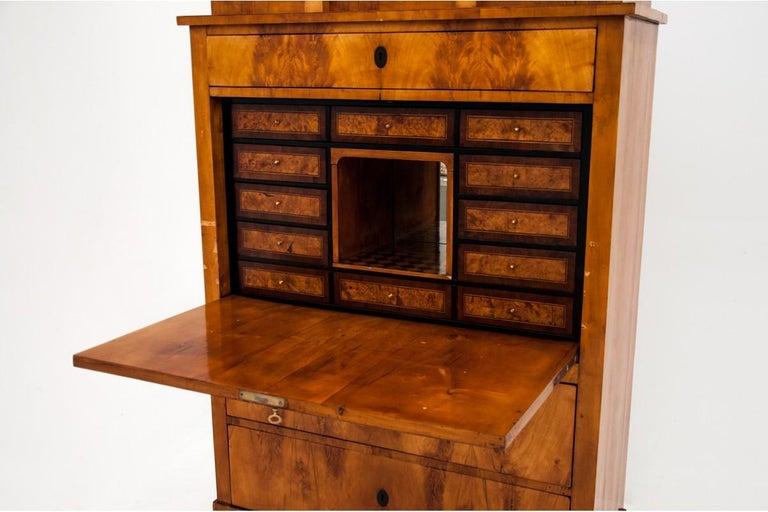 Birch Antique Secretary Desk, Empire Style, circa 1820 For Sale