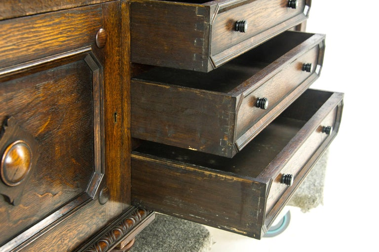 Antique Secretary Desk Oak Bookcase Scotland 1910 Antique