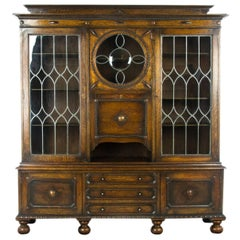 Antique Secretary Desk, Oak Bookcase, Scotland, 1910, Antique Furniture