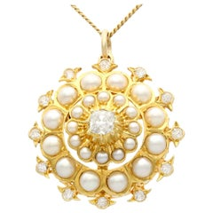 Antique Seed Pearl and 1.16 Carat Diamond Yellow Gold Pendant Brooch