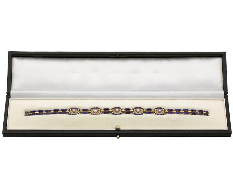 Antique Seed Pearl and Enamel Yellow Gold Gate Bracelet For Sale 4