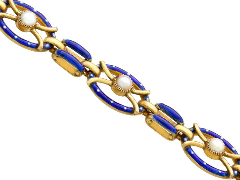 Round Cut Antique Seed Pearl and Enamel Yellow Gold Gate Bracelet For Sale