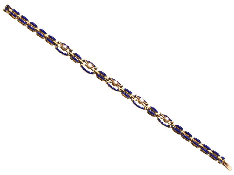 Antique Seed Pearl and Enamel Yellow Gold Gate Bracelet For Sale 2