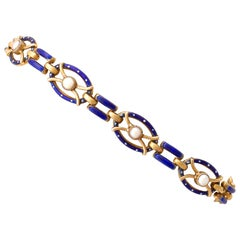 Antique Seed Pearl and Enamel Yellow Gold Gate Bracelet