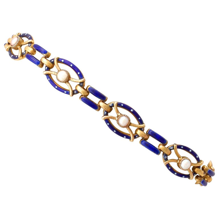 Antique Seed Pearl and Enamel Yellow Gold Gate Bracelet For Sale