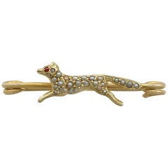 Antique Seed Pearl and Ruby Yellow Gold 'Fox' Brooch