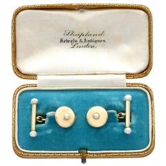Antique Seed Pearl and Yellow Gold Cufflinks
