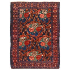 Antique Senneh Traditional Crimson Red and Blue Wool Persian Rug