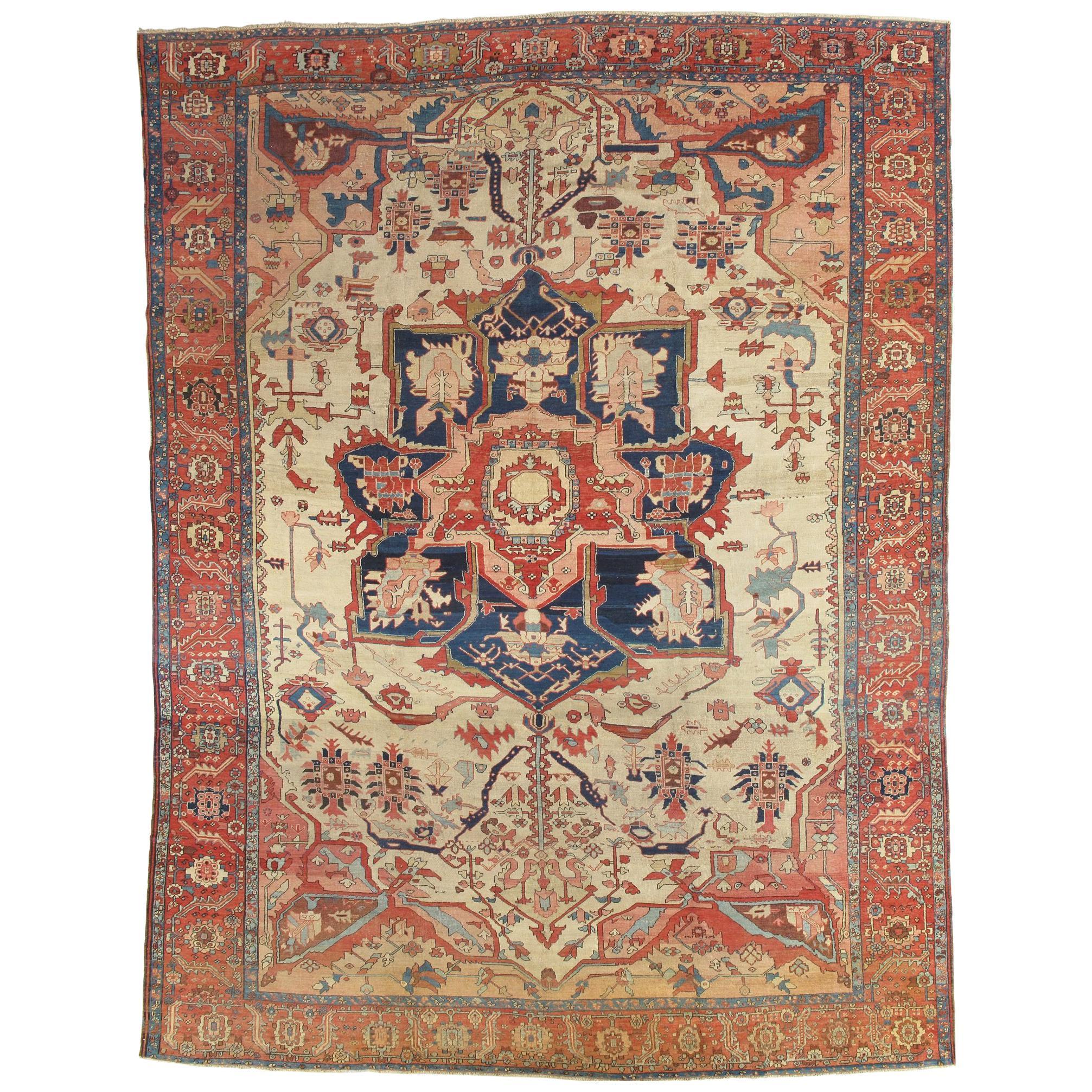 Antique Serapi Carpet, Handmade Wool Oriental Rug, Ivory, Rust, Navy, Light Blue