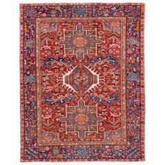 Antique Serapi Persian Red Handmade Wool Rug