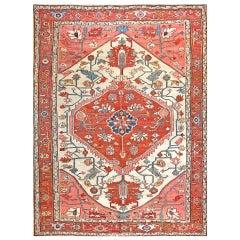 "Antique Serapi Persian Rug 9'2"" x 12'2""."