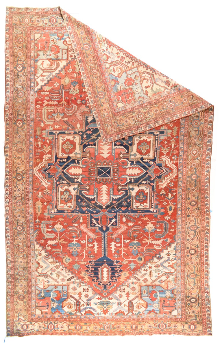 Hand-Knotted Antique Serapi Persian Rug, circa 1890 For Sale