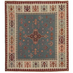 Serbian Antique Rugs, Vintage Kilim Rugs, Geometric Traditional Oriental Rug
