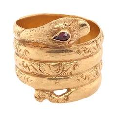Antique 18 Karat Serpent Ring w Ruby Eye