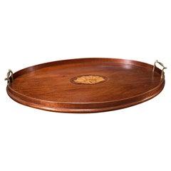 Antique Serving Tray, English, Mahogany, Brass, Boxwood Inlay, Georgian, C.1800