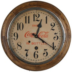 Antique Seth Thomas Drink Coca Cola Bottles Round Oak Wall Clock Peekaboo 16""