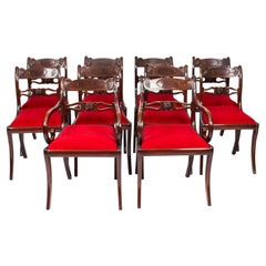 Antique Set 10 English Mahogany Regency Dining Chairs 19th Century