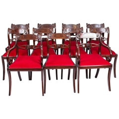 Antique Set 11 English Mahogany Regency Dining Chairs, 19th Century