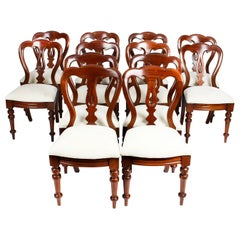 Antique Set of 12 Victorian Mahogany Spoon Back Dining Chairs 19th Century
