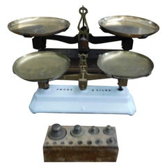 Antique Set 2 Brass Scale, Balance, with Weights, Ceramic and Bronze 1800 France