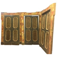Set of 4 Door with Frame, Gold Orange Green, Fake Marble Napoli, 1700, Italy