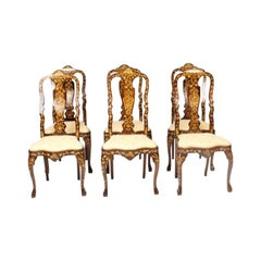 Antique Set 6 Dutch Marquetry Walnut High Back Dining Chairs, Late 18th Century