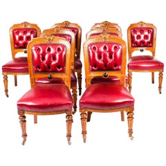 Antique Set 8 English Carved Oak Leather Upholstered Dining Chairs 19th Century