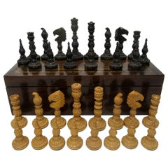 Antique Set Jacques Staunton Hand Carved Boxwood Mahogany Chess Board Pieces