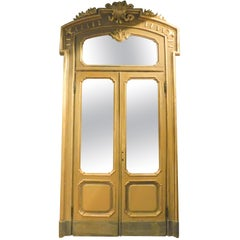 Antique Set N.4 Doors Wood Lacquered Gold Green, with Glass and Frame Milan 1800
